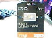 PNY 16GB Duo-Link on-the-go Flash Drive for iPhone iPad PC and Mac - Brand New